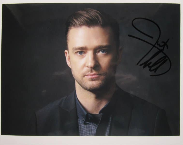 JUSTIN TIMBERLAKE SIGNED PHOTO + COA – Lincoln Music Signings
